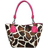 FASH Giraffe Print Faux Leather Top Zip Tote Office Handbag,Fuchsia,One Size