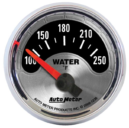 "Auto Meter 1236 American Muscle 2-1/16"" Short Sweep Electric Water Temperature Gauge"