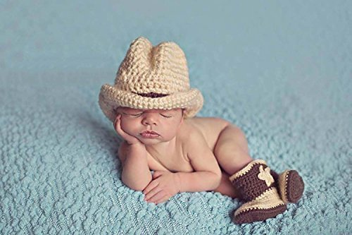 Photography Prop Baby Infant Lovely Cowboy Crochet Knitted Costume Cap Shoes By Rexselect