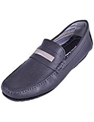 La Repute Men's Leather Black Formal Loafer Shoes