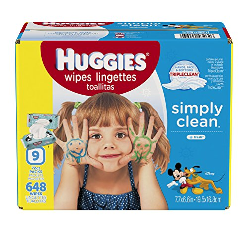 HUGGIES Simply Clean Baby Wipes, Fresh Scent, Soft Pack , 648 Ct (Packaging May Vary) (Feeding Bottle Case compare prices)