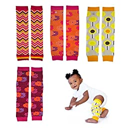 Huggalugs Variety 4-Pack Baby and Toddler Girls Bright Flowers Legwarmers