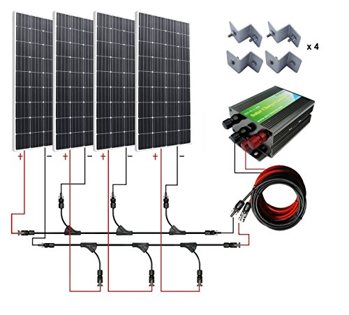 ECO-WORTHY 600W Monocrystalline 12v 24v Off Grid Battery Charging Solar Panel Kit: 4pcs 160W Mono Solar Panels+45A Charge Controller+Solar Cable+MC4 Branch Connectors Pair+Z Bracket Mounts (Starter Solar Panel Kit compare prices)