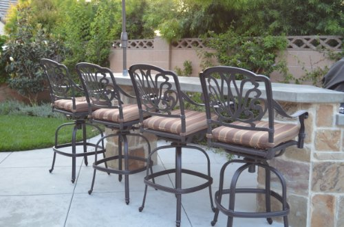 "Elizabeth Outdoor Patio Set 4pc Swivel Bar Stools 30"" Cast Aluminum Dark Bronze, Walnut Color"