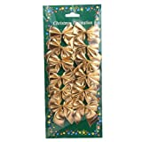12 Pcs Mini 6cm Christmas Charms Decoration Ornaments Ribbon Bows Gold