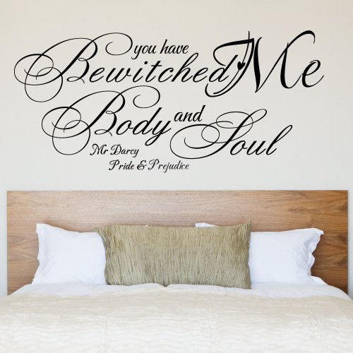 You Have Bewitched Me, Body And Soul - Romantic Vinyl Wall Decal Hand Lettered Design Room Decor (Black, Small)