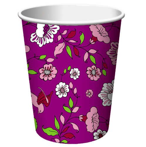 Creative Converting Plumeria Hot Or Cold Beverage Cups, 8 Count front-568540