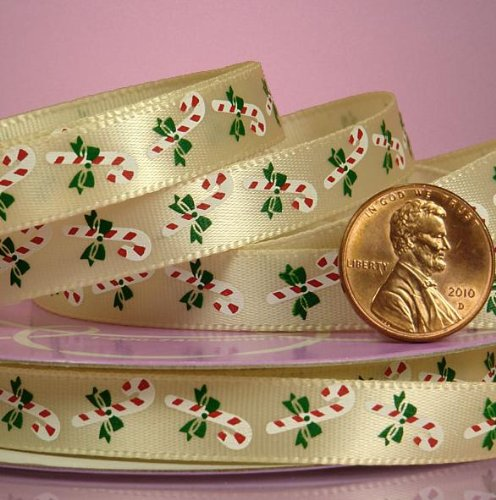 Ivory Candy Cane Christmas Satin Ribbon - 3/8in.