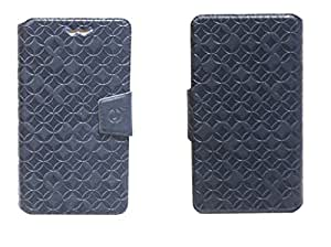 J Cover Vachetta Series Leather Pouch Flip Case With Silicon Holder For Nokia Lumia 630 Blue