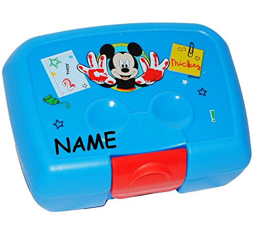 Lunchbox-Brotdose-Disney-Mickey-Mouse-incl-Namen-Brotbchse-Kche-Essen-fr-Jungen-Mdchen-Maus-Muse-blau-Kinder-Vesperdose-Playhouse-Sandwich-Box-Vesperbrotdose