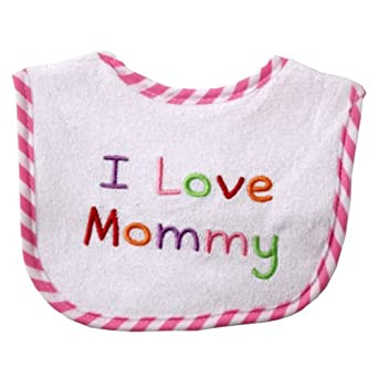 "Luvable Friends Preemie/ Newborn ""I Love"" Embroidered Drooler Bib (Pink Stripe-Mommy)"