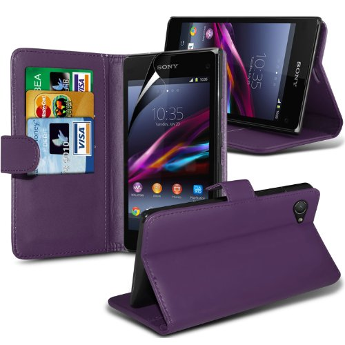 Sony Xperia Z1 Compact (Purple) Premium Pu Leather 3 Credit / Debit Card Slots Wallet Book Style Stand Case Skin Cover + Lcd Screen Protector Guard By Fone-Case