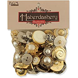 Buttons Galore Haberdashery Button, Gold/Silver, Pack of 100