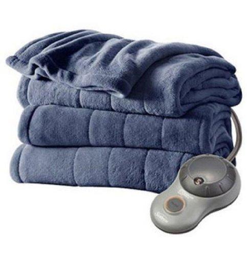 Sunbeam Imperial Plush Heated Blanket Queen - Lagoon Blue