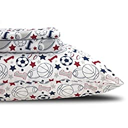 3 Piece Kids Sports Themed Sheet Set Twin Size, All Sports Bedding for Boys, Featuring Footballs, Basketballs, Baseballs, Soccer Balls, Stars, White Blue Red, Polyester Bright Soft