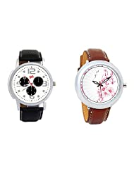 Gledati Men's White Dial And Foster's Women's White Dial Analog Watch Combo_ADCOMB0001857