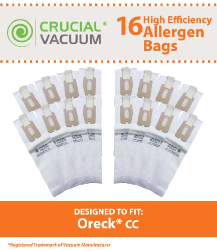 16 Oreck Type CC Allergen Filtration Vacuum Cleaner Bags – To Fit Style CC, and ALL XL Upright Models – Compare to Oreck Part # CCPK8, CCPK8DW, Designed & Engineered By Crucial Vacuum