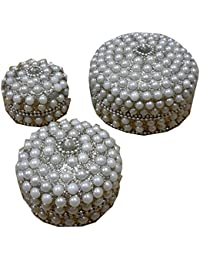 Eastern Galaxy Aluminium Handmade Pearl Pill Box 3'' Set Of 3 Off White Pearl Colour And Shining Colour Is Silver