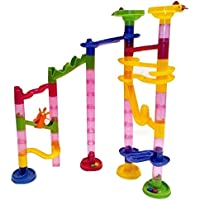 Marble Run Coaster 55 Piece Set With 40 Building Blocks 15 Plastic Race Marbles. Learning Railway Construction...