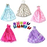 Toy - Mix Style Handmade Gorgeous Barbie Doll Party Clothes Dress x5 & Shoes x 10 Gift