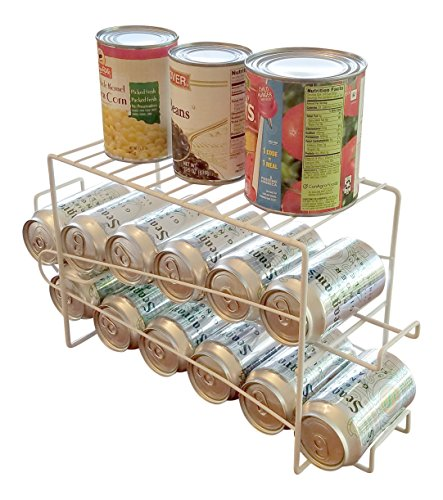 Space Saving Soda Can Beverage Dispenser Rack Holds 12 Regular Size 12 oz Soda or Beer Cans with Top Rack for Canned Foods (Soda Can Holder Storage compare prices)