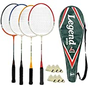 Guru Legend BR012 COMBO-05 Badminton Racket Set Pack Of Four With Four Cover & 6 Shuttlecock Size: 27 Inch