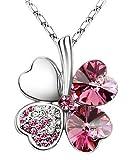 """Swarovski Elements Crystal Four Leaf Clover Pendant Necklace 19"""" - CN9034R"""