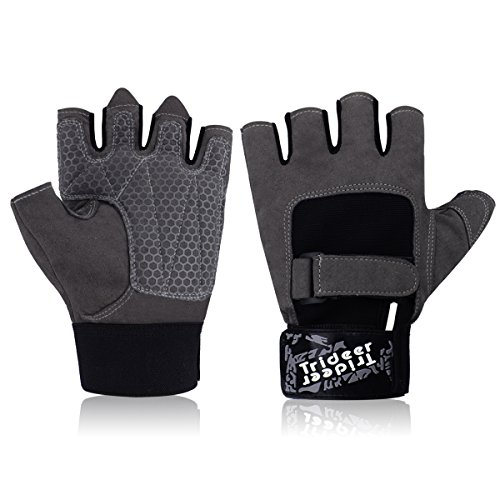 Trideer Weight Lifting Glove Gym Glove with Adjustable Wrist Support, Light Microfiber & Anti-Slip Silica Gel Grip Glove for Workout, Training, Crossfit, Fitness, Bodybuilding and Exercise Men & Women