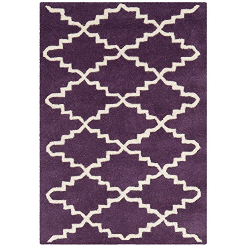 Safavieh Chatham Collection CHT721F Handmade Purple and Ivory Wool Area Rug, 2 feet by 3 feet (2' x 3')