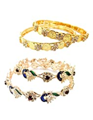 Aria Laxmi Coin Peacock Style CZ Gold Plated Buy 1 Get 1 4pc Bangle C30
