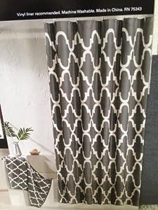 100 Percent Cotton Shower Curtain Moroccan Tile Quatrefoil Charcoal Gray Ivory