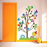 DeStudio Multi Tree With Bird, Multi Color, Wall Stickers (Wall Covering Area : 85cm X 130cm)-12314