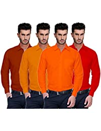 Nimegh Red, Brown, Dark Yellow And Orange Color Cotton Casual Slim Fit Shirt For Men's (Pack Of 4)