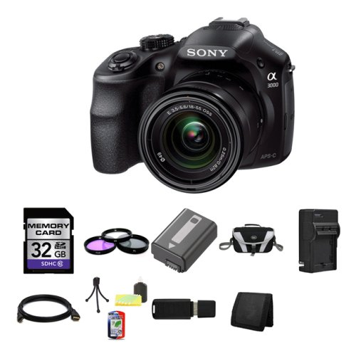 Sony-A3000-ILCE-3000K-ILCE-3000KB-20-1MP-Interchangeable-Lens-Camera-with-18-55mm-Zoom-Lens-Black-32GB-Package-3