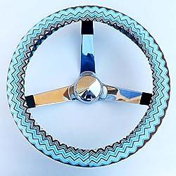See Mana Trading Handmade Steering Wheel Cover Light Blue Brown Chevron Details