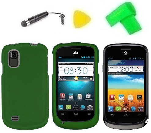 Phone Cover Case Cell Phone Accessory + Extreme Band + Stylus Pen + Lcd Screen Protector + Yellow Pry Tool For At&T Zte Avail 2 Ii Go Phone Z992 / Zte Prelude Z993 (Dark Green)