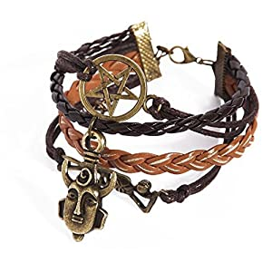 CuteEdison Leather Charm Bracelet in Dark Chocolate Brown Colour with Tan Faux Corded Leather with Skeleton / Pentagram / Protection + Gift Box