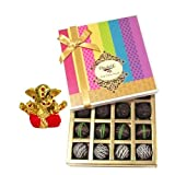 Chocholik Belgium Chocolates - Dark Flavour Truffle Collection Gift Box With Small Ganesha Idol - Gifts For Diwali