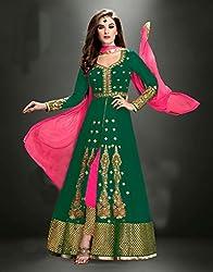 Maruti Creation Women's Georgette Semi-stitched Anarkali Suit Dress Material (MC1002_FREE_SIZE_GREEN)