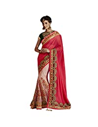Indian Fantastic Stone Studded Applique Designed Wedding Wear Net Saree By Triveni
