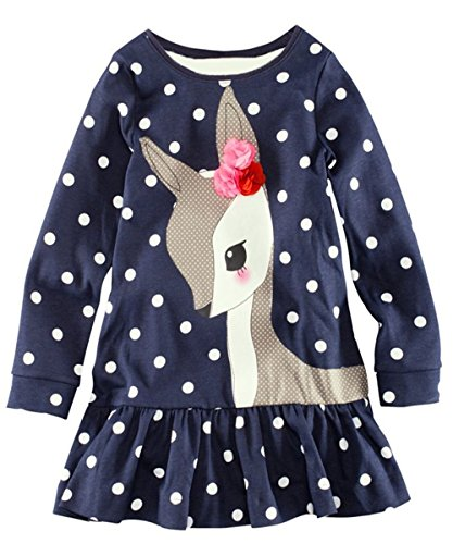 Kidstree(TM) Girl's Deer Pattern Long Sleeve Cotton Dress 18 months blue