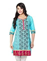 Morpunc Light Blue Printed Kurta