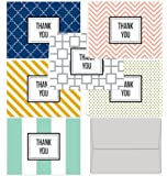 Modern Thank You - 36 Note Cards for $9.99 with 6 Modern Patterns and Colors Including Light Gray Envelopes