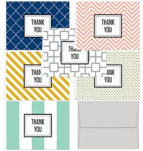Modern Thank You - 144 Note Cards for $32.99 with 6 Modern Patterns and Colors Including Light Gray Envelopes