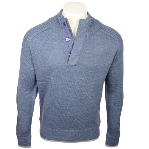 Harbour Collection Men's Denim Marl Yarn 1/4 Button Neck Knit Jumper In Size Medium