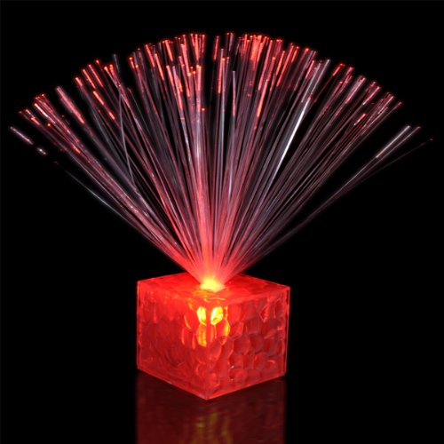 "5.5"" Light Up Small Red Fiber Optic Centerpiece"