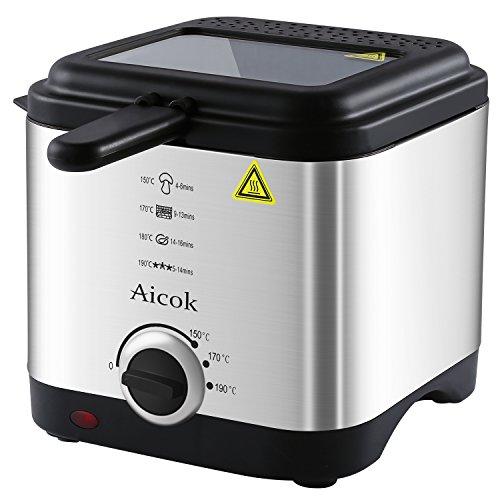 Aicok-Freidora-Con-Cool-Touch-Control-De-Temperatura-De-15-litros-Capacidad-De-Aceite-Ventanas-De-Visin-Superior-y-Tapa-y-Cesta-De-Acero-Inoxidable
