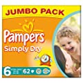 Pampers Simply Dry Size 6 (16+kg) Jumbo Box Extra Large 62 per pack