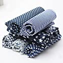KINGSO 7PCS Cotton Fabric Bundles Quilting Sewing DIY Craft 19.7x19.7inch Dark Blue