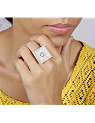 Muchmore White Crystal Stone Zircons Work Made Gold Plated Fashion Ring For Women's